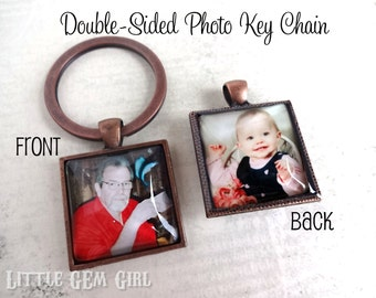 Double Sided Custom Photo Key Chain Charm - Personalized Square Picture Pendant -  Copper, Bronze, Silver or Gunmetal Photo Keychain