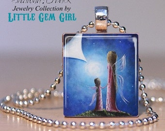 Mother Daughter Scrabble Necklace Charm - A Fairy's Child Mothers Day Mom Pendant - Angel in Heaven Memorial Jewelry