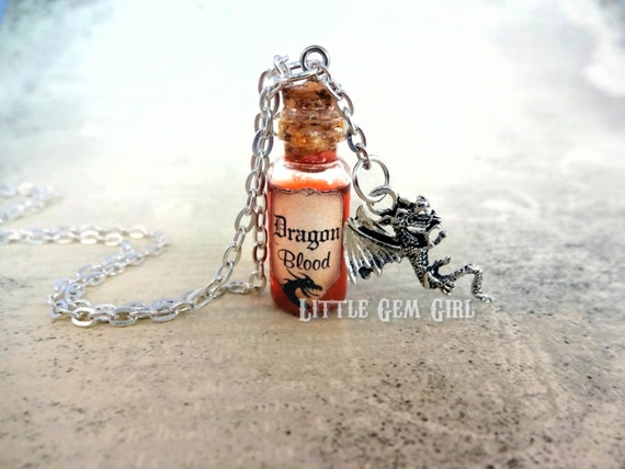 Dragon Blood Bottle Necklace - Dragon Charm Necklace - Mini Glass Bottle Potion Vial Charm - Red Copper Shimmer - Dragon Slayer Magic Spells