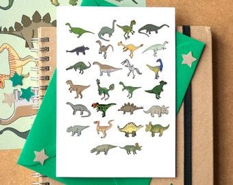 Dinosaur Alphabet Card - dinosaur birthday card - dinosaur greetings card - Alphabet of Dinosaurs - card for dinosaur fan
