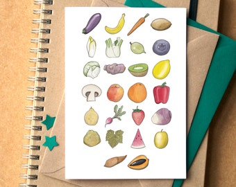 Fruit and Veg Alphabet Greetings Card - food, cooking, kitchen