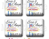 Set of 4 Handmade Glass Magnets - Las Vegas Theme - PERSONALIZED WEDDING FAVORS - One Inch Square Glass Magnets