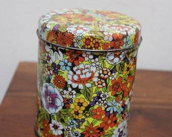 Vintage Floral Steel Tin / Retro Colorful Round Container with Lid - Steeltin Company
