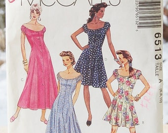 UNCUT McCall's 6513 Dress Jumpsuit Romper pattern Sizes 6, 8, 10 Petite-able  Easy