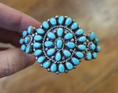 Turquoise BRACELET / Zuni Petit Point Jewelry / Sterling Silver Turquoise Cuff