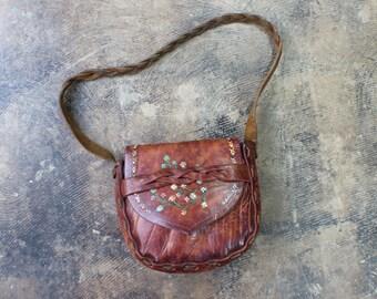 1970's Leather PURSE / VintageTooled Leather Floral Bag / Braided Leather Handbag