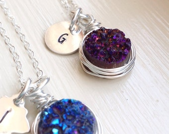 Personalized Druzy Necklace Initial Titanium Blue Purple Sterling Silver Letter Gift for Her Bridesmaids Jewelry