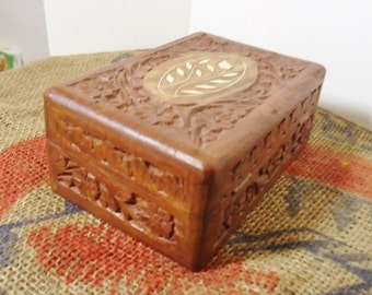 Carved Wooden Floral Trinket/Jewelry Box with Inlay