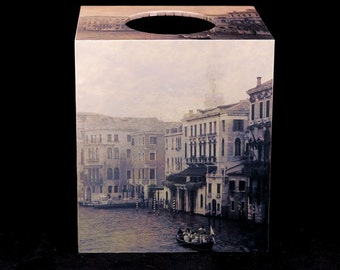 Tissue Box Cover Vintage Gondoliers on The Grand Canal