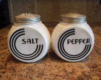 Vintage Fire King Vitrock Black Circle Salt & Pepper Shakers