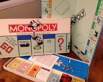 1973 Monopoly Game Board Family Fun NIght Vintage