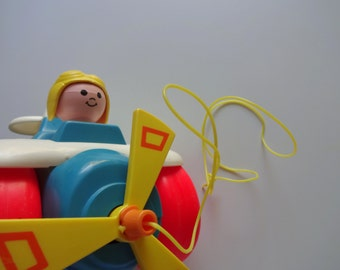 Vintage Fisher Price Pull Airplane Toy 1980