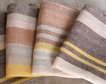 """Linen Napkin Square Rustic Gray Brown Beige in Stripes set of 6 size 18.5"""" x 18.5"""" Classic style"""