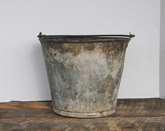 Vintage galvanized bucket outdoor use garden by for Galvanized well bucket
