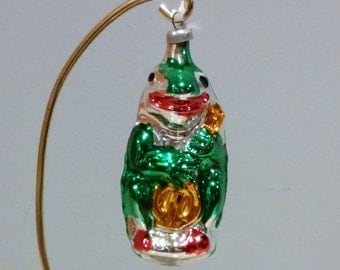 Vintage Ornament Frog West Germany Blown Glass  with Banjo