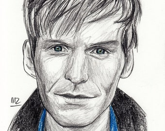 Shaun Evans - original pencil sketch - size A5