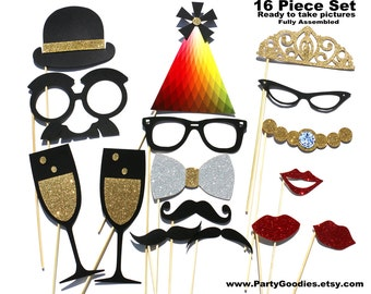 Best Wedding Photo Booth Prop - 16 Piece GLITTER Set - Mustache Photobooth GLITTER Party Props