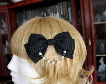 Black & Gold Pinstripe Bow Hair Clip with Pearl Chain