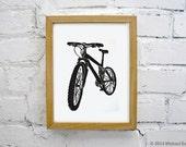 Mountain Bike Linocut Print - Handmade Printmaking Bicycle Lino Print