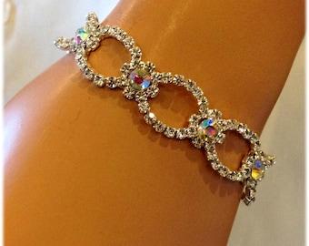 Bridal bracelet, Wedding jewelry,bridal jewelry, bridesmaid bracelet, AB rhinestone bracelet, crystal bracelet, bridesmaid jewelry