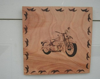 motorcycle wood burned pyrography wall hanging picture
