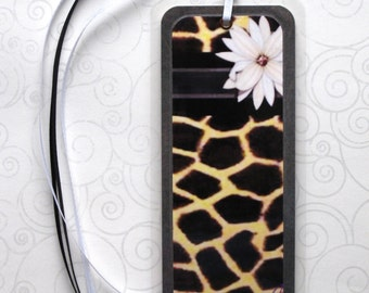 Handmade Laminated Durable Bookmark Flower/giraffe design