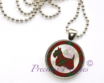 Tartan Scotty Dog Pendant Clan and Tartan jewelry green and red tartan