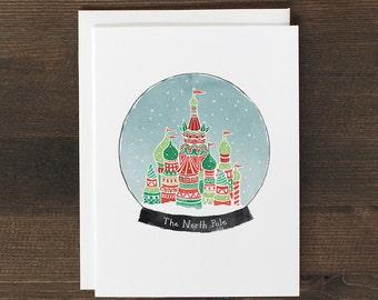 Christmas Card Snow Globe The North Pole