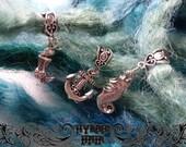 Ultimate sea theme set 3x tibitan silver dreadlock bead charms cuffs ethnic