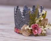 Lace Crown in Blush and Pewter - Mini Crown - Baby Lace Crown - Shabby Chic - Alice in Wonderland