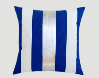 """Decorative Pillow Case, Cotton Royal Blue-White Throw pillow case with Silver fabric accent, 16"""" x 16"""",  Cushion case, Toss pillow case."""