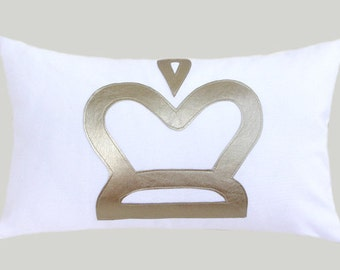 """Decorative Pillow Case, White cotton fabric Lumbar pillow case with a Silver-Gold Crown accent, fits 12"""" x 20"""" insert, Home Decor"""