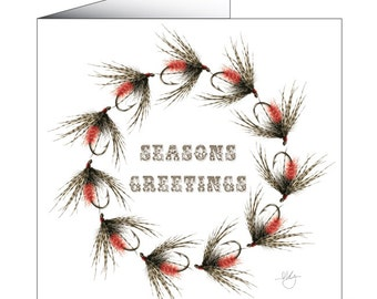 CHRISTMAS WREATH Fly Fishing Greeting Card