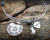 Adjustable Bangles - Cat - Pet Memorial Bracelet - Hand Stamped Bracelet Charms - Sympathy Gifts - Memorial GIfts