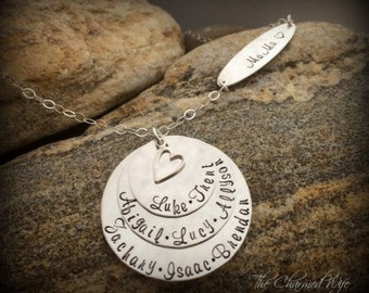 Mommy Necklace Name Jewelry - Unique Mother's Jewelry - Grandmother Necklace - Kids Name Jewelry -The Charmed Wife - Hand stamped Jewelry