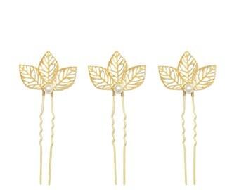 Gold leaf and pearl wedding hair pins (x3), Leaf bridal accessories, Leaf wedding hair pins, Gold leaf wedding hair pins