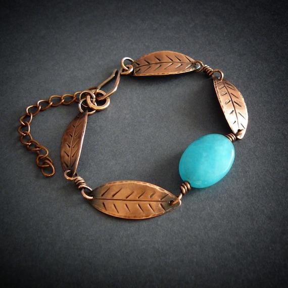 leaf bracelet with turquoise jade copper bracelet delicate