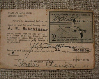 Duck stamp vintage 1956 Mississippi migratory bird hunting stamp hunting license