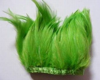 1 metre Full Hackle Feather Fringe - Bright Green