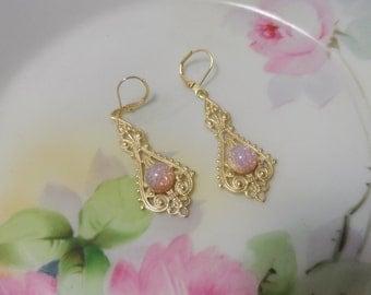 Victorian OPAL earrings  Gold FIRE OPAL earrings bridal earrings wedding jewelry pink fire opal harlequin gass bridal accessories