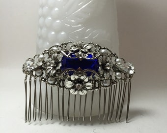 SAPPHIRE Rhinestone Silver OX hair comb Filigree Flower vintage inspired octagon blue Rhinestone Wedding comb Bridal comb