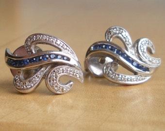 Gorgeous Vintage Blue Sapphire and Diamond Stud Earrings -  14k - Leaf Design