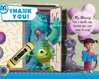 MONSTERS INC Thank you Card, Monsters Inc Party, Monsters Inc Thank you Note