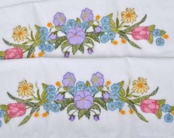 Vintage Embroidered Pillow Cases with Pansies And Forget Me Nots