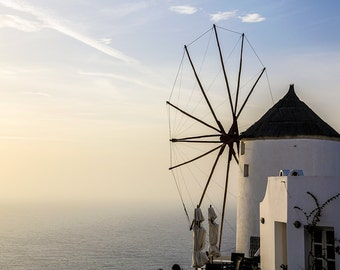 Santorini Windmill Photograph - Gallery Wrapped Fine Art Canvas Print - Multiple Sizes