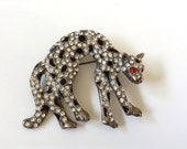 Rhinestone Leopard or Jaguar Brooch Antique Vintage Fashion Brooch