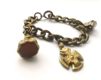 Antique Fob Charm Bracelet Carnelian Brass Collectible Edwardian Jewelry