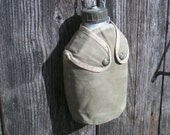 Vintage French Water Bottle Army Camping Trekking Cycling 1950s Canteen Flask
