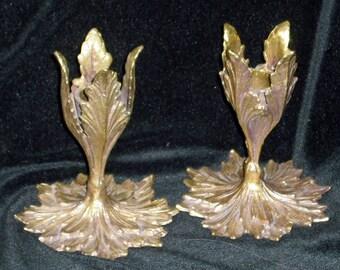 Antique Candle Holders - Art Nouveau Candlesticks - Gold Gilt Bronze Leaf 1920s