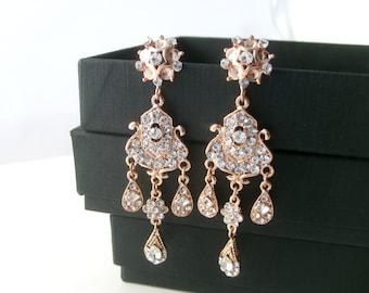 Bridal earrings -Rose gold chandelier earrings-Wedding earrings-Rose gold art deco rhinestone Swaroski crystal  earrings - Wedding jewelry